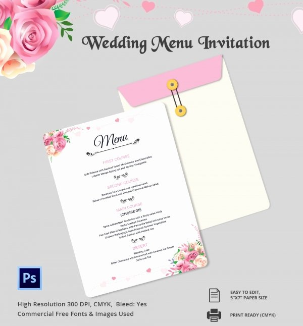 Free Wedding Menu Template Luxury Wedding Menu Template 44 Free Word Pdf Psd Eps