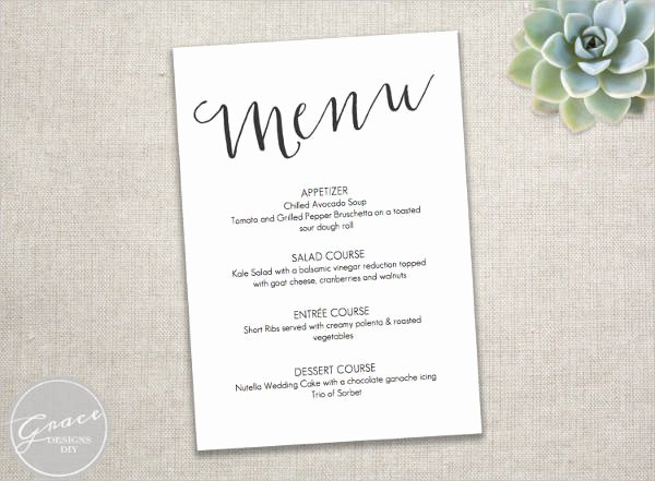 Free Wedding Menu Template New 23 event Menu Templates