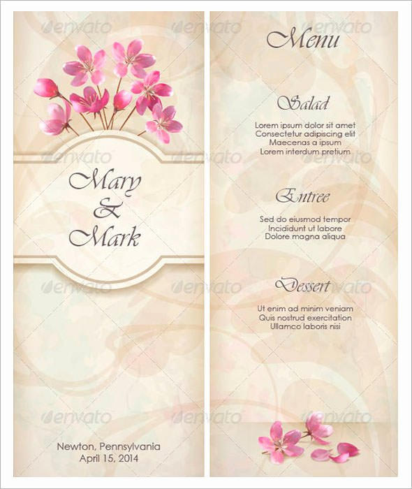 Free Wedding Menu Template New Wedding Menu Template 31 Download In Pdf Psd Word