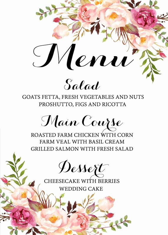 Free Wedding Menu Template Unique 17 Best Ideas About Wedding Menu On Pinterest