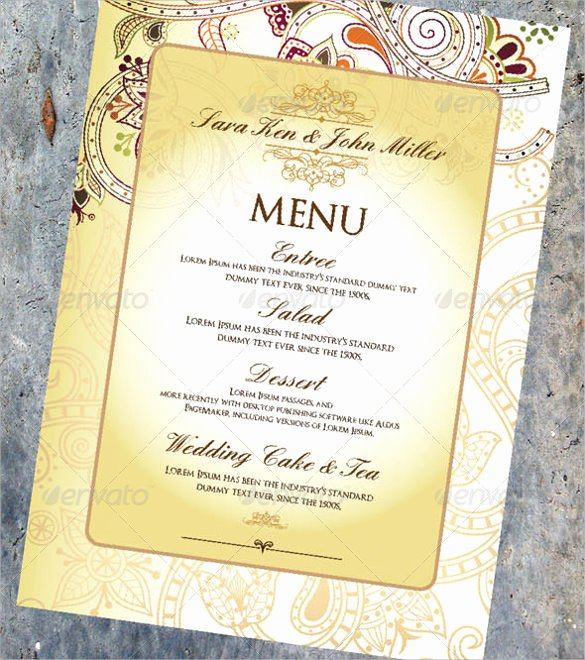 Free Wedding Menu Template Unique Wedding Menu Template 31 Download In Pdf Psd Word
