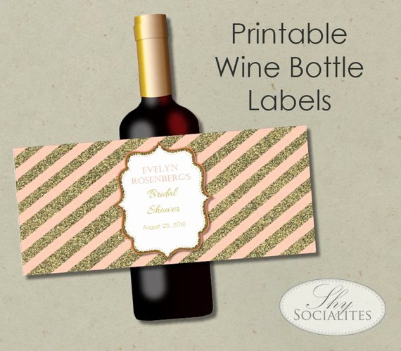 Free Wine Label Template Best Of Blush & Gold Glitter Printable Wine Label Hostess Gift