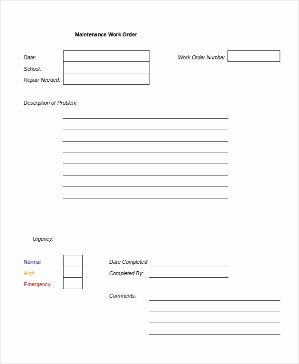 Free Work order Template New Excel Work order Template 13 Free Excel Document