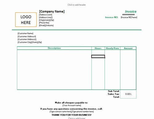 Freelance Invoice Template Word Best Of Invoice for Hourly Rate