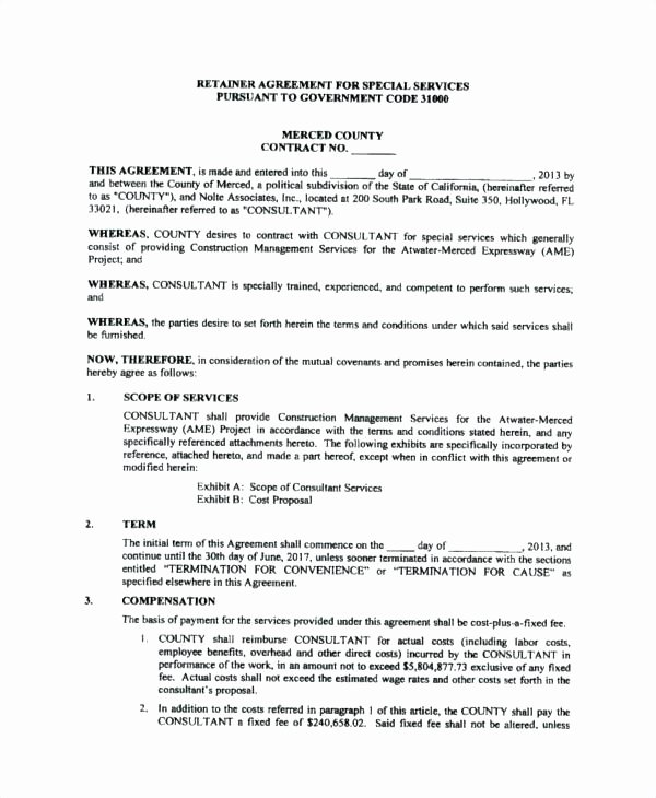 Freelance Retainer Contract Template Fresh Consultant Services Proposal Template Consultancy Example
