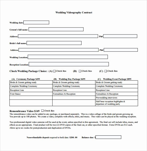 Freelance Videographer Contract Template Fresh Videography Contract Template Free