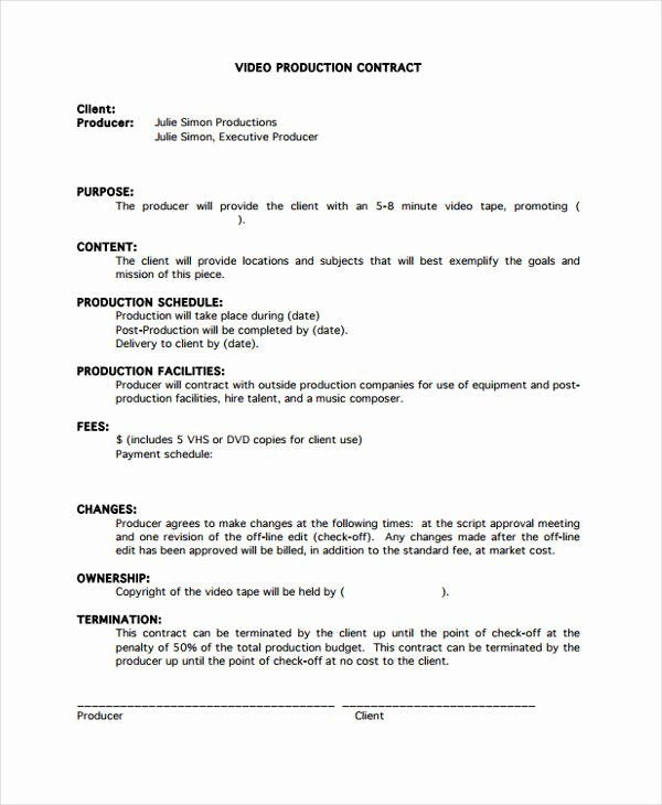 Freelance Videographer Contract Template New Video Production Contract Template