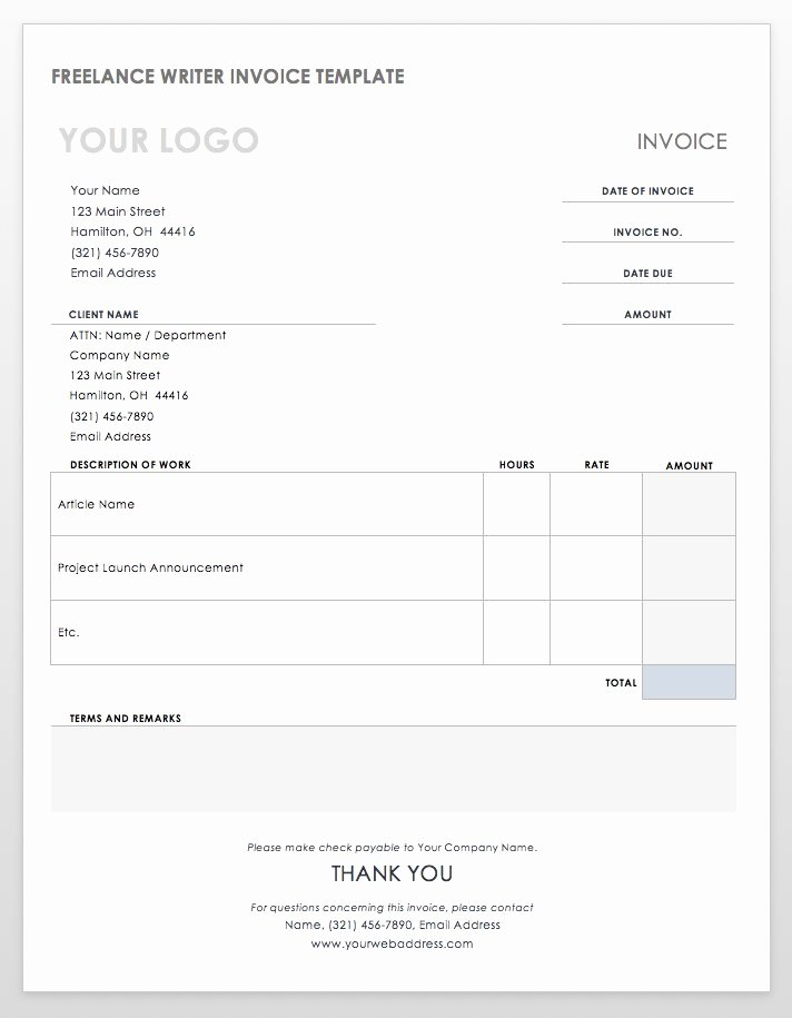 Freelance Writing Invoice Template Best Of 55 Free Invoice Templates