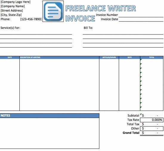 Freelance Writing Invoice Template Elegant Free Freelance Writer Invoice Template Excel