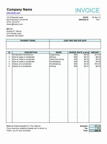 Freelance Writing Invoice Template New 10 Free Freelance Invoice Templates [word Excel]