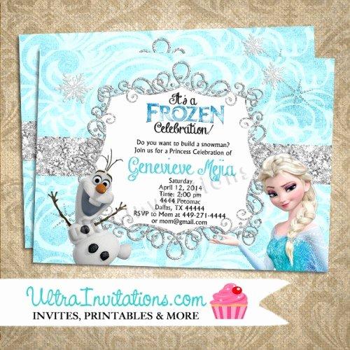 Frozen Birthday Invitation Template Inspirational Disney Frozen Olaf & Elsa Birthday Invitations Printable
