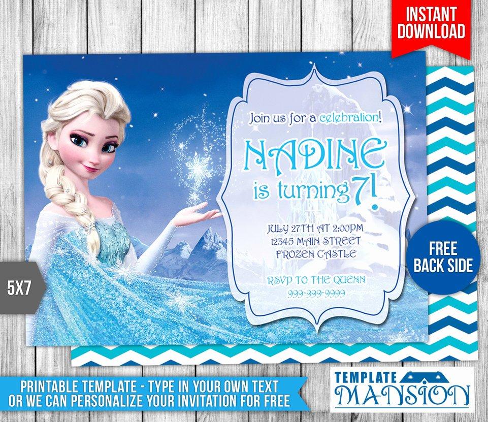 Frozen Birthday Invitation Template Luxury Disney Frozen Elsa Birthday Invitation by Templatemansion