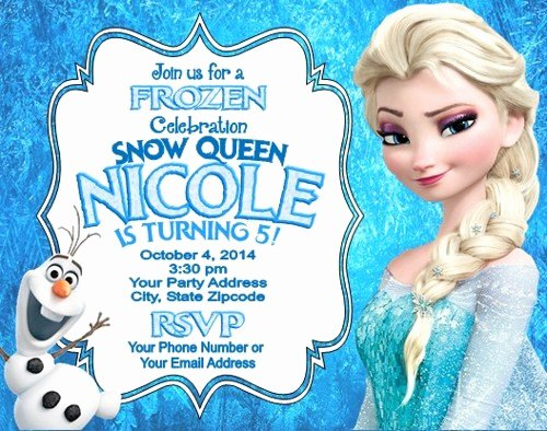 Frozen Birthday Invites Template Best Of Frozen Elsa Olaf Birthday Party Invitations Personalized