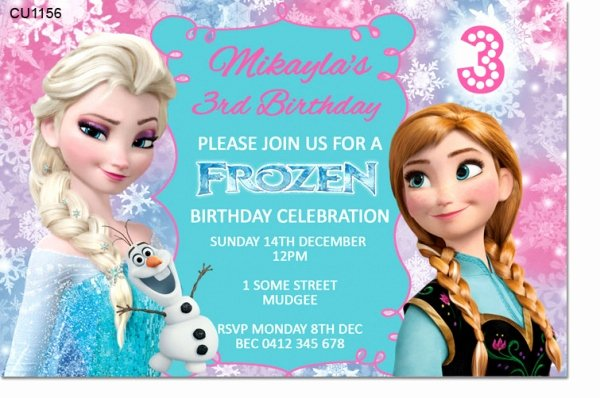 Frozen Birthday Invites Template Lovely Cu1156 Frozen Birthday Invitation Template Girls