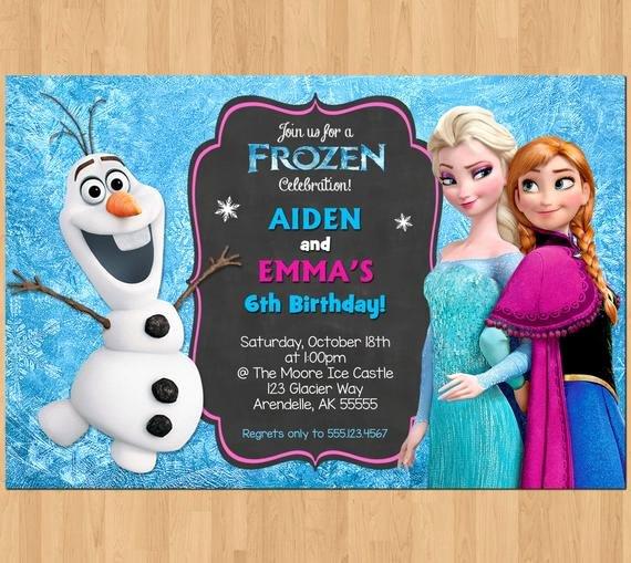 Frozen Birthday Invites Template Lovely Sibling Birthday Invitation Frozen Invitation Olaf Elsa Anna