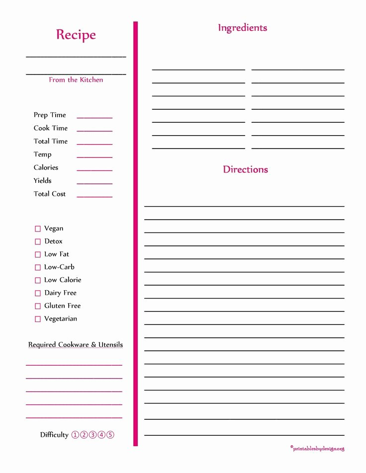 Full Page Recipe Template Awesome 103 Best Free Recipe Cards Pages Images On Pinterest