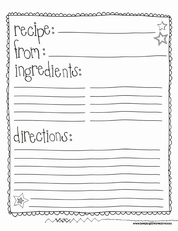 Full Page Recipe Template Awesome Class Recipe Book Template Google Search