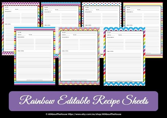 Full Page Recipe Template Awesome Editable Printable Chevron Recipe Template Recipe Card