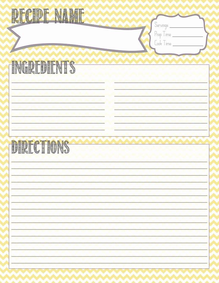 Full Page Recipe Template Beautiful Printable Recipe Template
