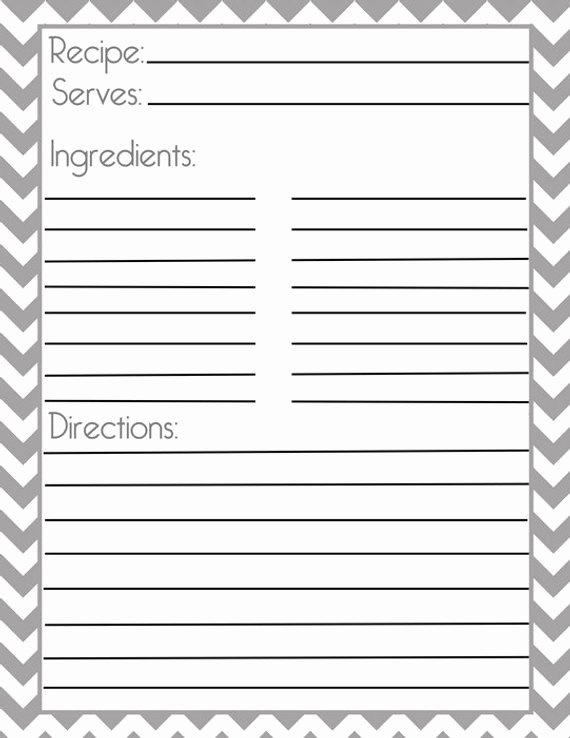 Full Page Recipe Template Best Of Chevron Gray Recipe Page and Filler Page