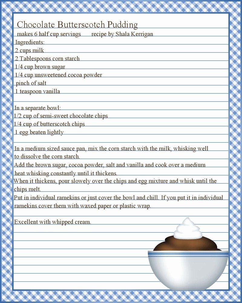 Full Page Recipe Template Fresh Microsoft Word Recipe Template
