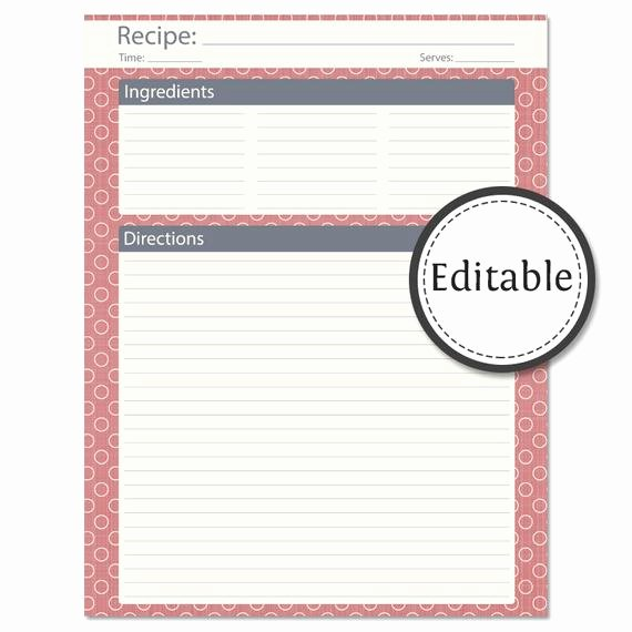 Full Page Recipe Template Lovely Recipe Card Full Page Fillable Instant