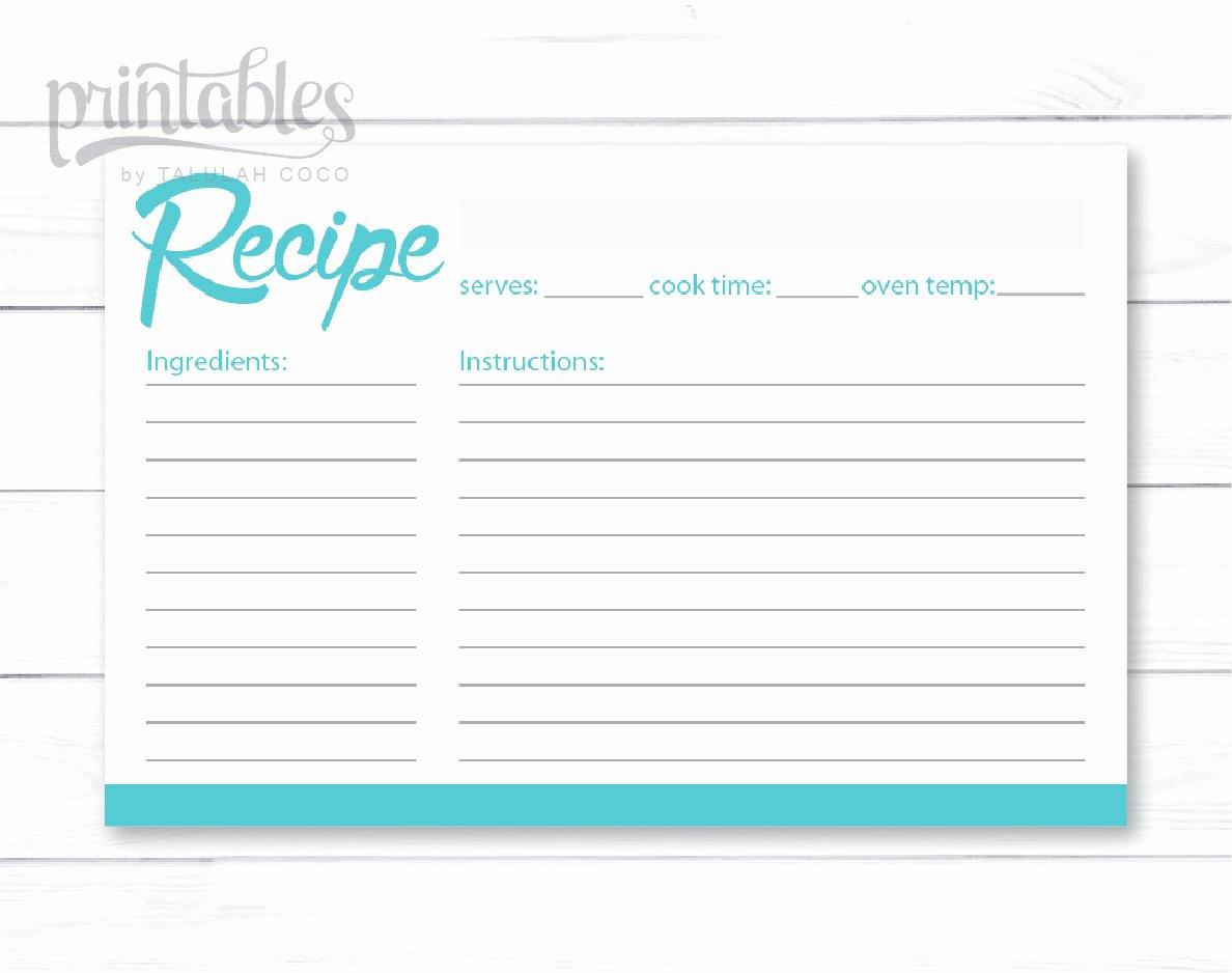 Full Page Recipe Template Unique Editable Recipe Card Blue Green Printable 4x6 Recipe Cards