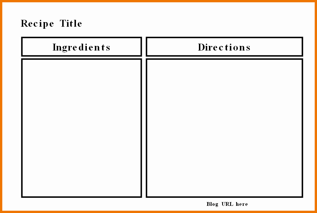 Full Page Recipe Template Unique Full Page Recipe Template for Word