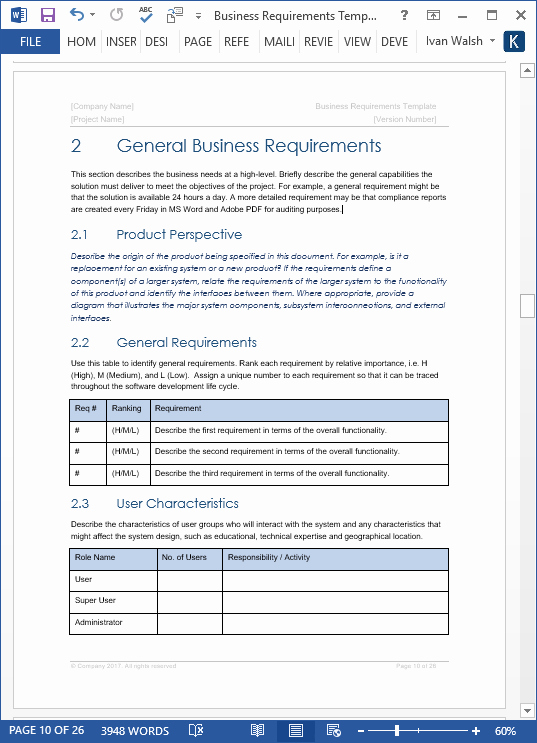Functional Requirements Template Excel Awesome Business Requirements Specification Template Ms Word
