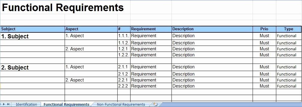 Functional Requirements Template Excel Elegant System Requirements Template Invitation Template