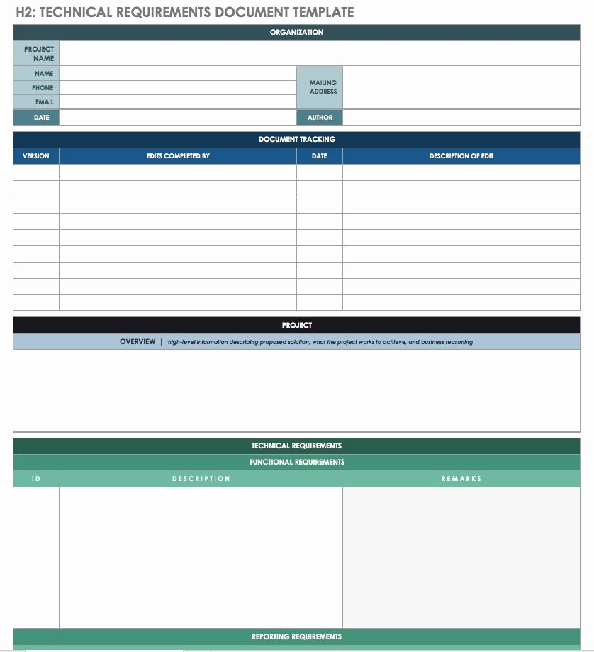 Functional Requirements Template Excel New Free Technical Specification Templates