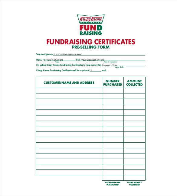 Fundraiser form Template Free Fresh 20 order Template Word Excel Pdf