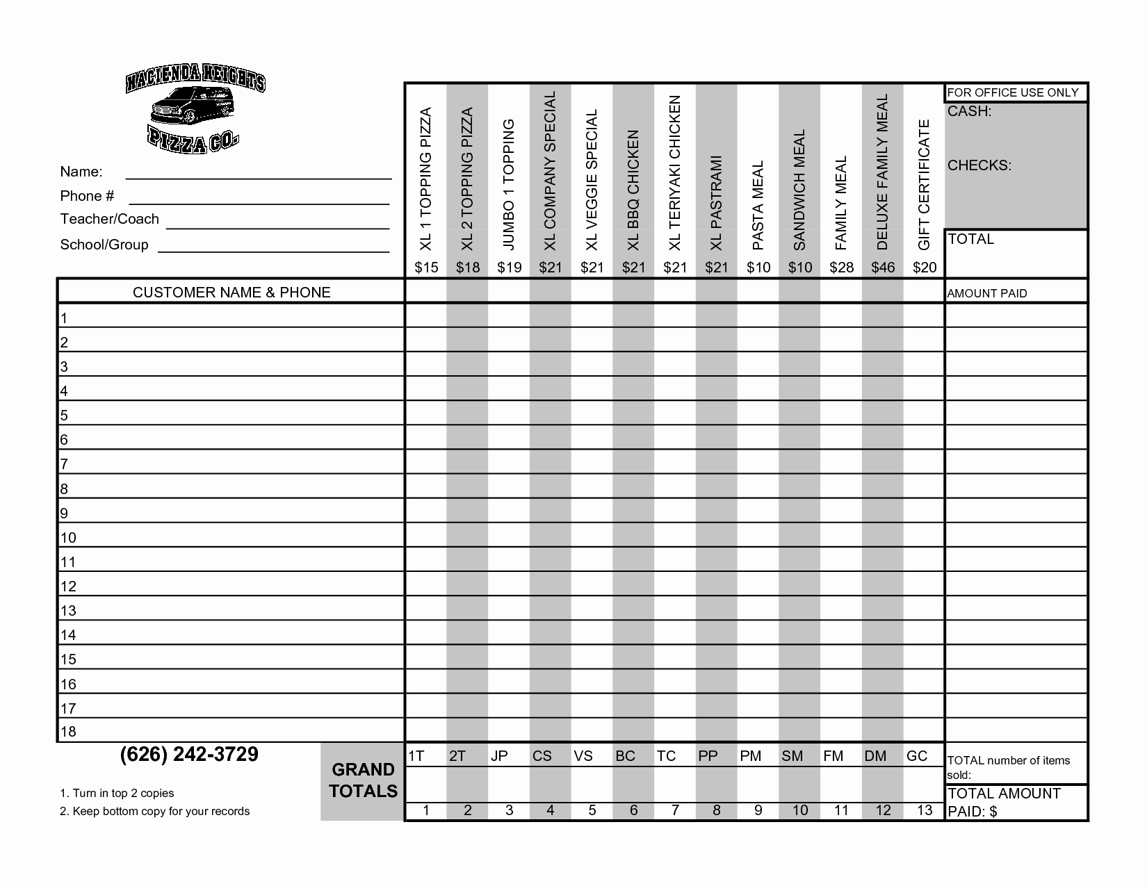 Fundraiser order form Template Unique Best S Of Editable Fundraising order form