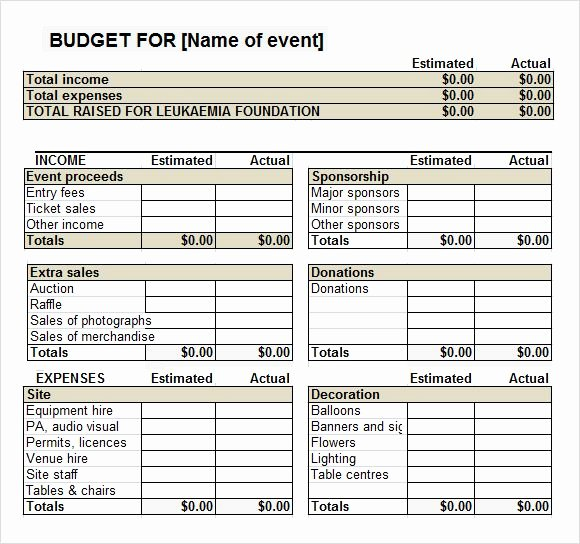 Fundraising event Planning Template Awesome Fundraiser event Bud Template Work It