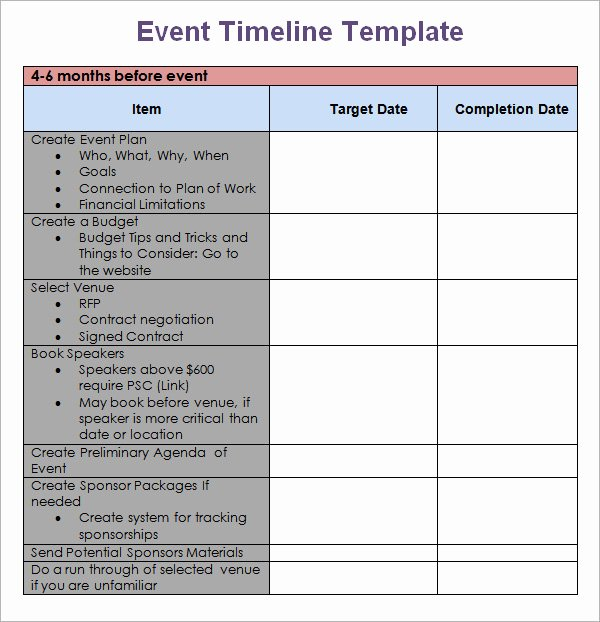 Fundraising event Planning Template Fresh 10 event Timeline Templates for Free Download