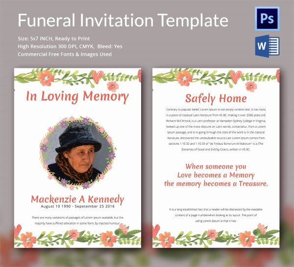Funeral Announcement Template Free Fresh Sample Funeral Invitation Template 11 Documents In Word