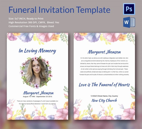 Funeral Announcement Template Free Inspirational Sample Funeral Invitation Template 11 Documents In Word