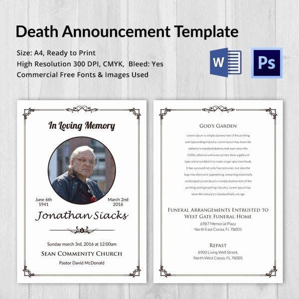 Funeral Announcement Template Free Lovely Death Announcement 5 Word Psd format Download