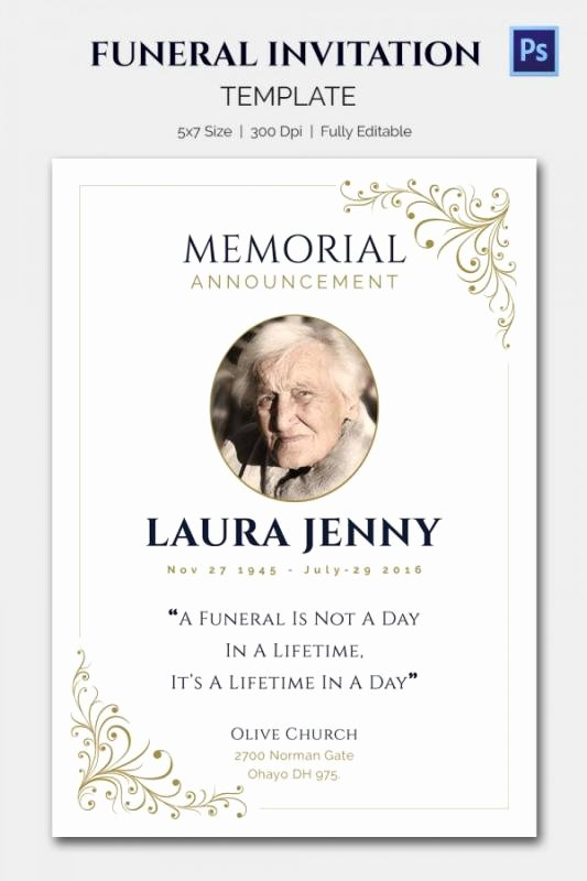 Funeral Announcement Template Free Lovely Funeral Announcement Template