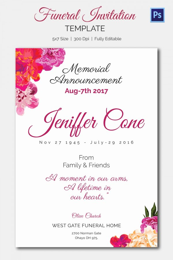 Funeral Announcement Template Free Luxury 15 Funeral Invitation Templates – Free Sample Example