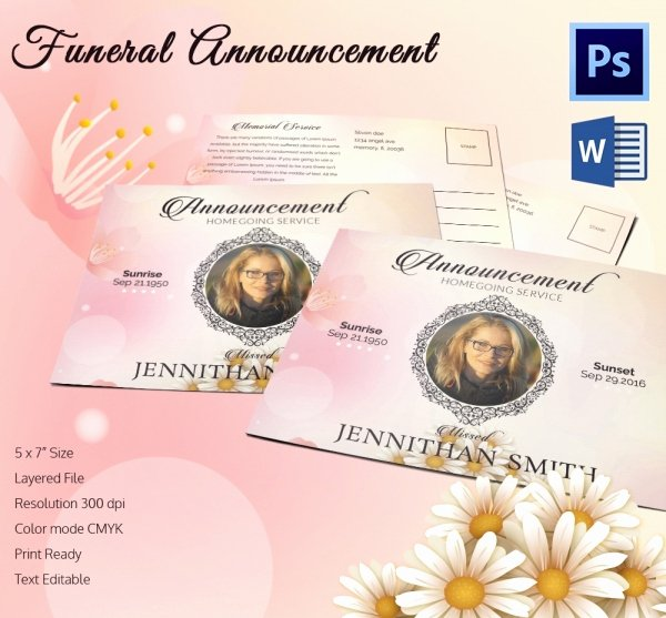 Funeral Announcement Template Free Luxury Funeral Program Template 16 Word Psd Document Download
