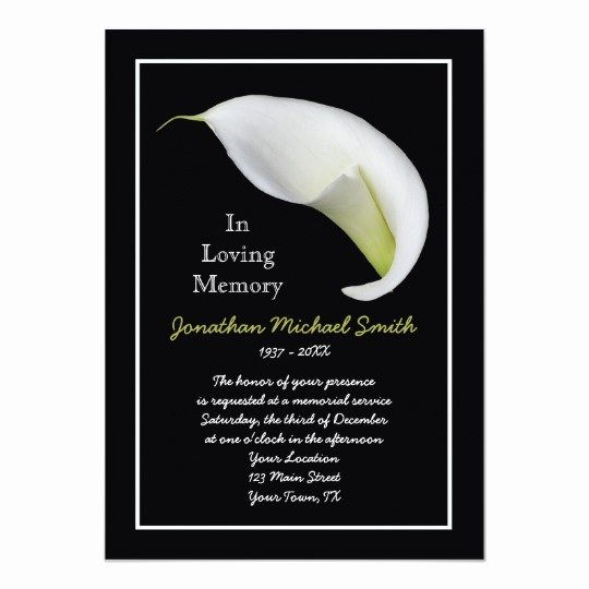 Funeral Announcement Template Free Luxury Memorial Service Invitation Announcement Template