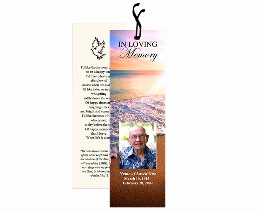 Funeral Bookmarks Template Free Awesome Memorial Bookmarks Beach Scene Radiance Bookmark