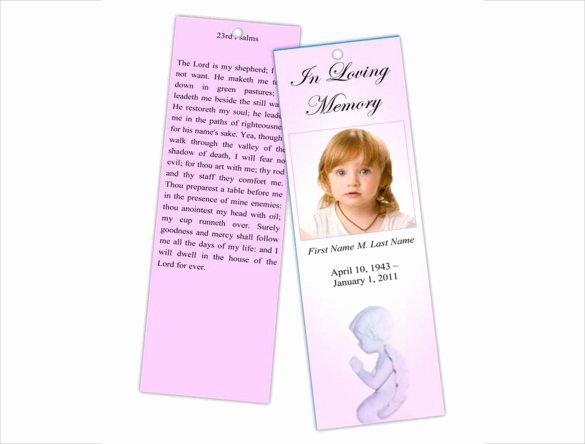 sample funeral bookmark