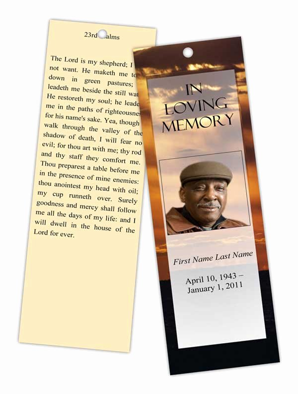 Funeral Bookmarks Template Free Lovely Brown Sunset Bookmark Template Elegant Memorials
