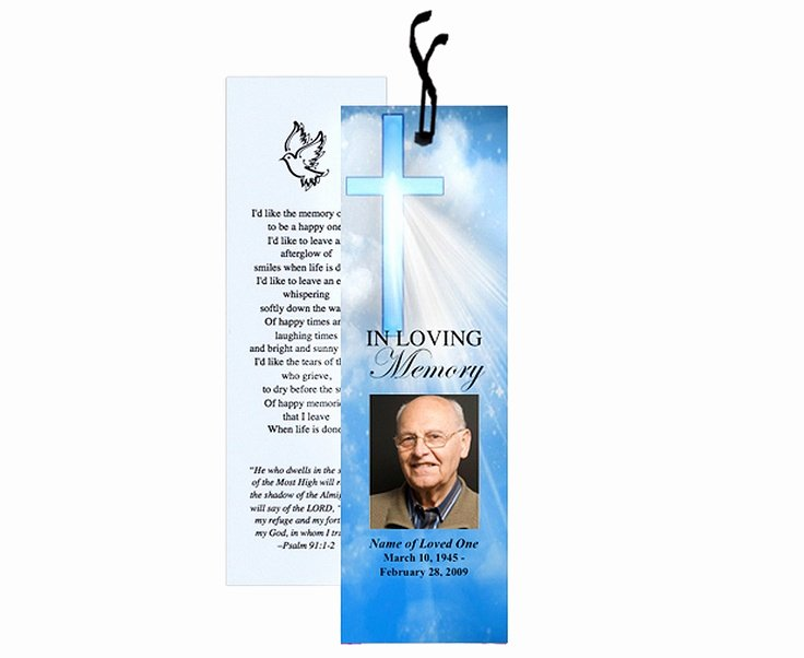 Funeral Bookmarks Template Free Lovely Spiritual or Christian Based themed Memorial Bookmarks