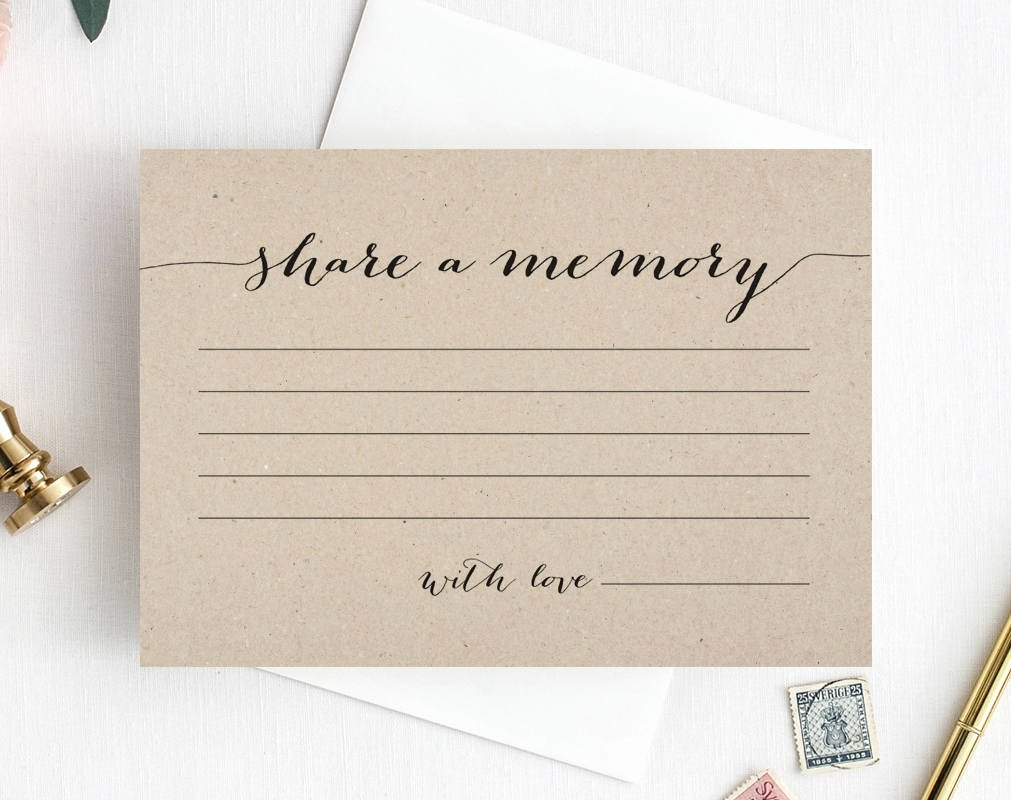 Funeral Guest Book Template Lovely A Memory Card Memory Cards A Memory Printable