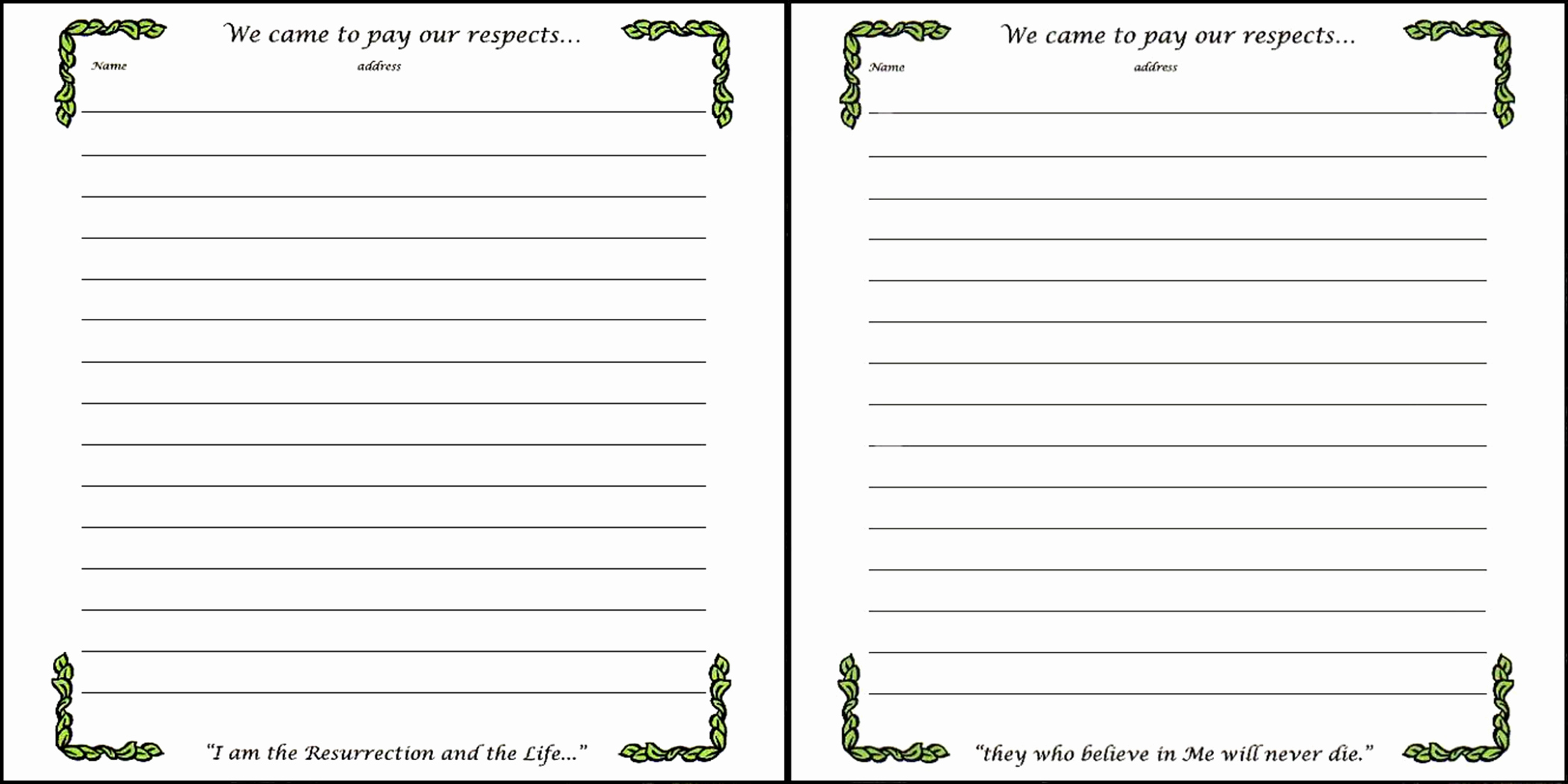 Funeral Guest Book Template New Memorial Book