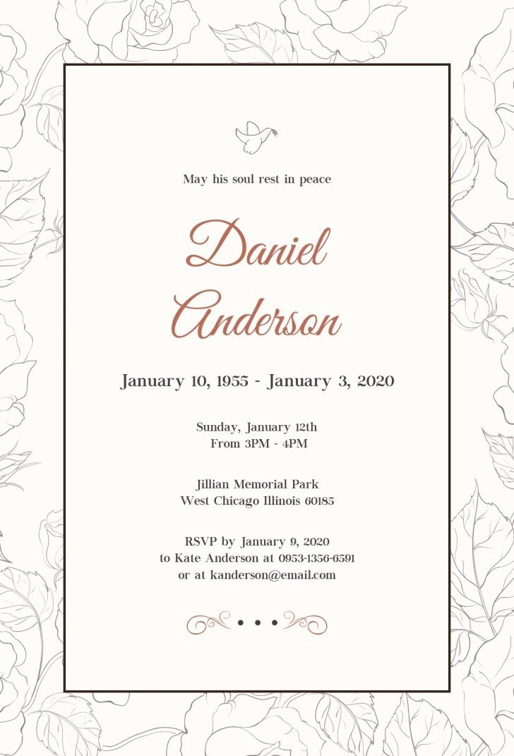 Funeral Invitation Template Free Elegant Funeral Service Announcement Template – Fresh 38 Awesome