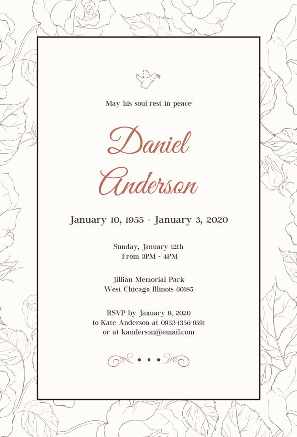 Funeral Invitation Template Free Fresh 27 Funeral Invitation Templates Free Sample Example